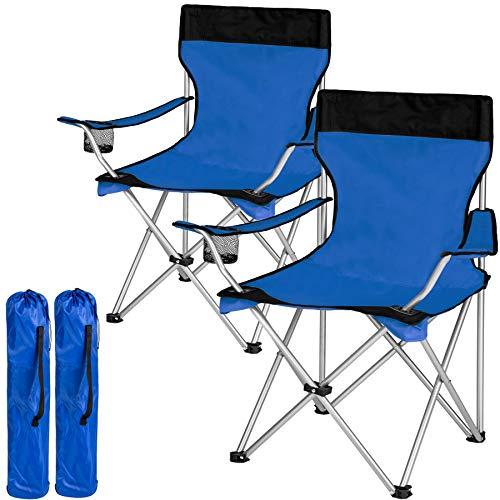 TecTake Sedia Pieghevole da Campeggio - con Borsa - Disponibile in Diversi Colori e quantità - (2X Nero-Blu | No. 401251)