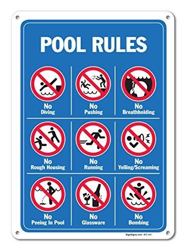 bienternary Pool-Zeichen, Pool-Schild mit graphics-, groß, 10x 14Aluminium-Metall mit Vintage-Verkehrszeichen Dose Deko-Teller mit Plaque