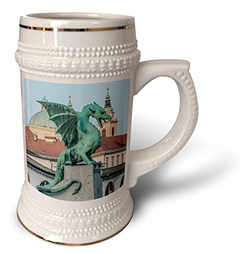 3dRose Slowenien, Ljubljana, Dragon Bridge – Stein-Tasse, 510 ml, Weiß