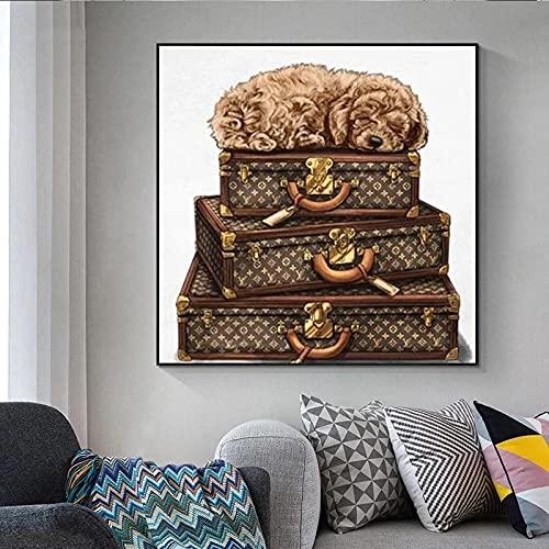 Pintura En Lienzo Noble Retro Perro Art Wall Nodic Maleta De Lujo ImpresióN De PóSter Sala De Estar Mujer HabitacióN DecoracióN Del Hogar-50x50cm Sin Marco