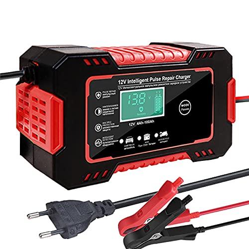 Arrancador De Coches Cargador de batería de automóviles 12V Reparación de pulsos Pantalla Smart Fast Charge Ciclo de círculo profundo Cargador de ácido para automoción automática (Color : Red 3)
