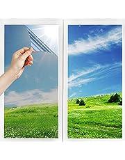 RMINE Film Miroir Fenêtre sans Tain Anti UV Anti Chaleur Anti-Regard Contrôle de la Température Protection de la Vie Privée Film Adhésif Réfléchissant pour Fenêtre Maison Bureau Magasin