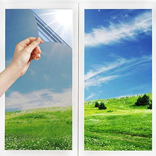 h Spiegelfolie Selbstklebend Sichtschutz Wärmeisolierung Sonnenschutzfolie Innen UV-Schutz Fensterfolie Silber