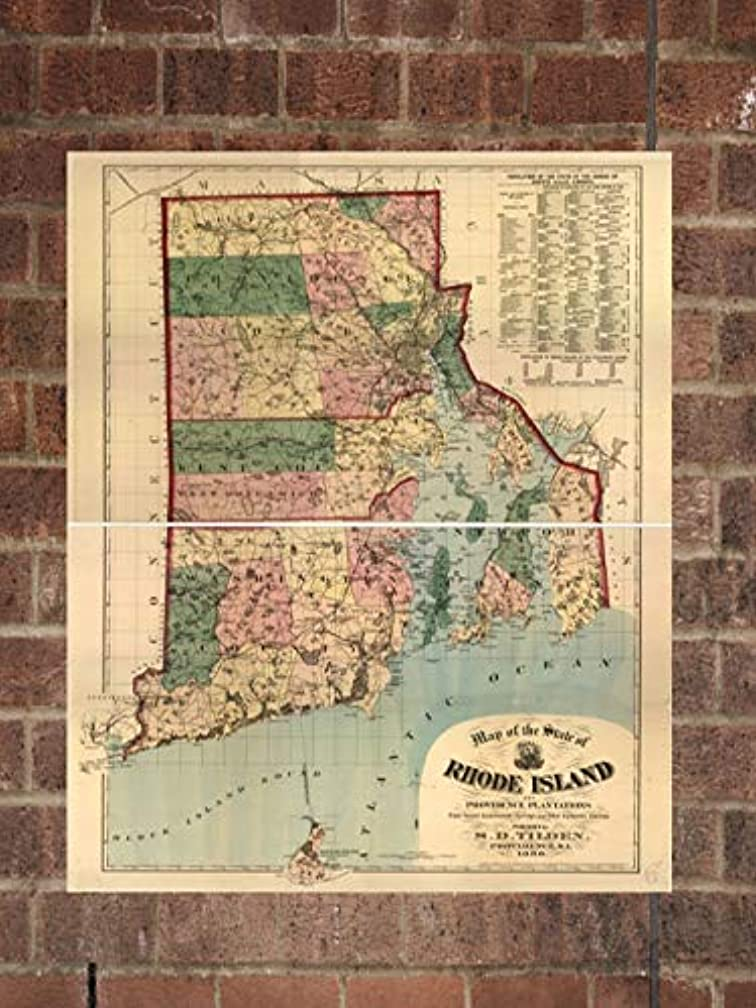 Retro Printing Company Vintage Rhode Island Map, Aerial Rhode Island Photo, Historical Vintage RI, Old Rhode Island Photo, 1880, Home Decor, Wall Art