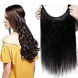 Extensions Echthaar mit Unsichtbarer Draht Schwarz - Haarverlängerungen Haarteile Glatt Haarverdichtung Keine Clip 16'-60g