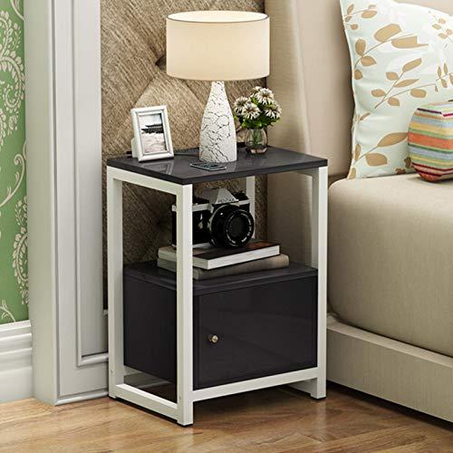 YSXFS comodino comodino, comodino, comodino, cassettiera con mensola, mobiletto comodino per casa, camera da letto, soggiorno, comodino moderno (colore: nero)