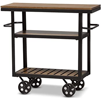Baxton Studio Kennedy Rustic Industrial Style Mobile Serving Cart