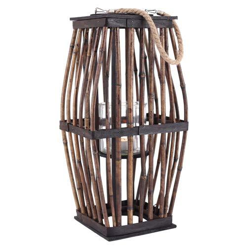 Laterne Bambus mit Glas- Windlicht, braun Höhe ca. 51cm