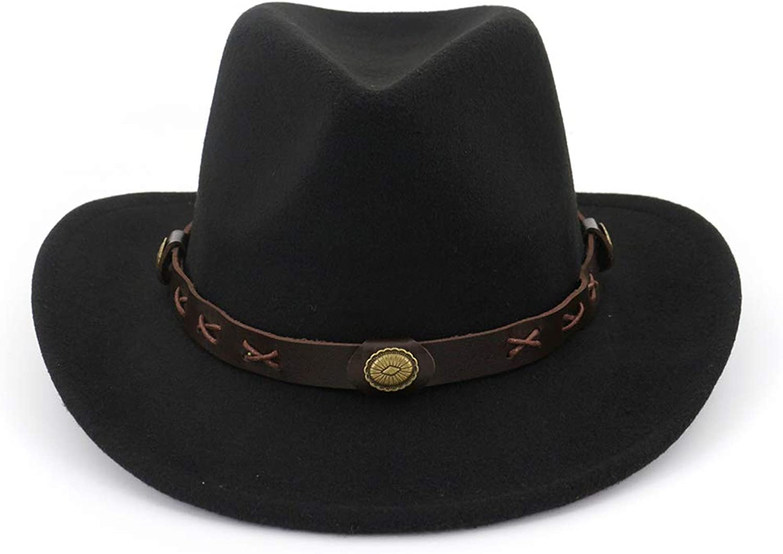 Women's Wide Brim Wool Fedora Hat Trendy Fall & Winter Panama Cowboy Hat Belt