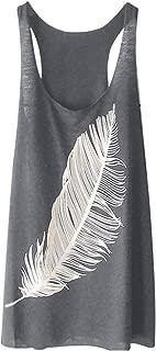 Women's Sleeveless Feather Print Long Vest Fashion Ladies Casual Summer Long Tunic Shirts Tank Tops