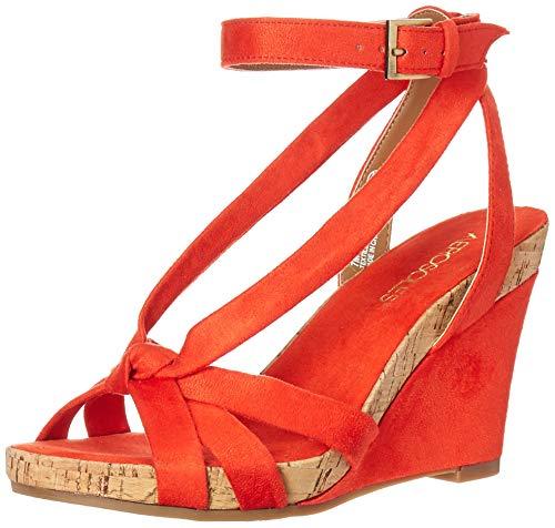 Aerosoles - Women's Fashion Plush Wedge Sandal - Open Toe Strap Platform Heel Shoe with Memory Foam Footbed (7.5M - Orange Fabric)
