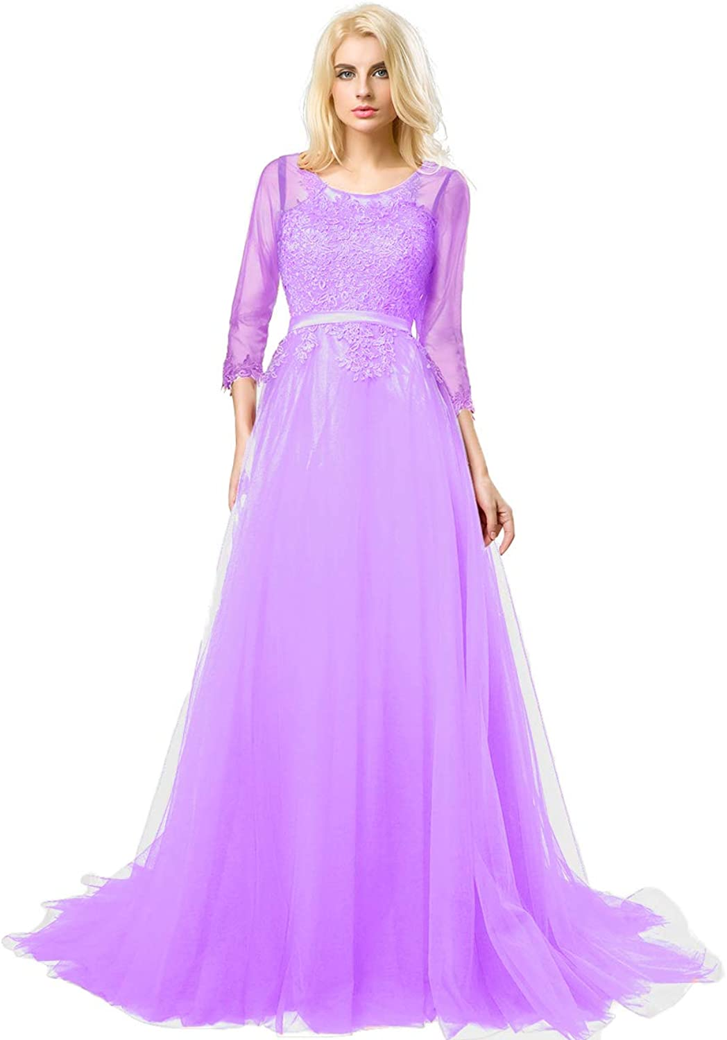 Huifany Women's Prom Dress 3 4 Sleeves Tulle Evening Dresses Long Appliques Lace Formal Gowns