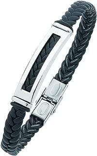 Bevilles Stainless Steel Black Mens Braided Bracelet