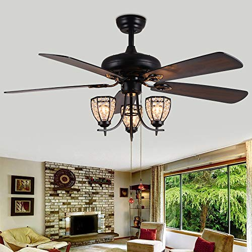 RainierLight 52-inch Ceiling Fan Lamp 3 Cryatal Light Kit 5 Wood Blade Remote Control Led Light Chandelier for Bedroom/Living Room Mute Energy Saving Fan