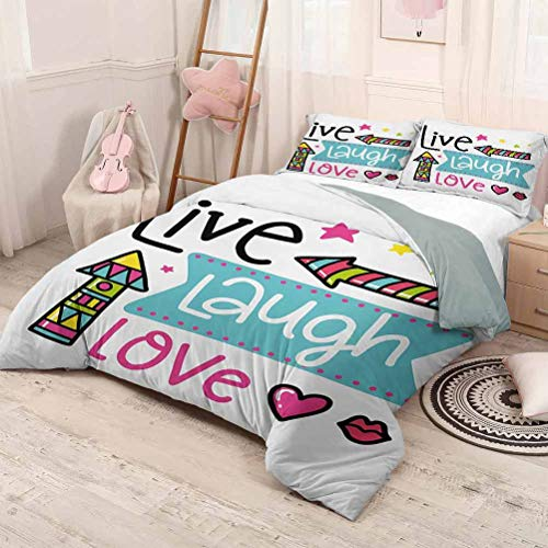HELLOLEON Live Laugh Love Pure Bedding Hotel Luxury Bed Linen Lively Colors Cartoon Arrows with Geometric Shapes Kiss Hearts Phrase Print Polyester - Soft and Breathable (Queen) Multicolor