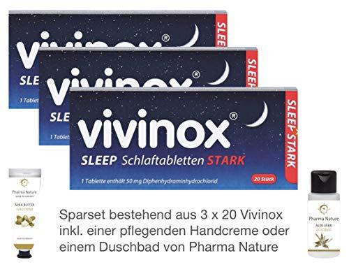 Vivinox stark 3 x 20 Stück Sparset inkl. einer pflegenden Handcreme oder Duschbad von Pharma Nature