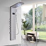 Onyzpily Panel de ducha LED de acero inoxidable, columna de ducha, sistema de ducha, ducha de lluvia, alcachofa de mano,...