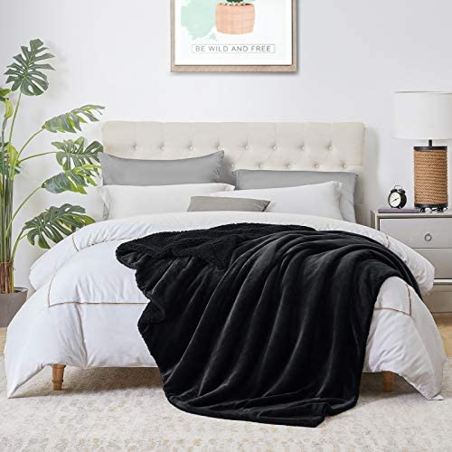 Walensee Sherpa Fleece Blanket Queen Size 90 x90 Black Plush Throw Fuzzy Super Soft Reversible product image