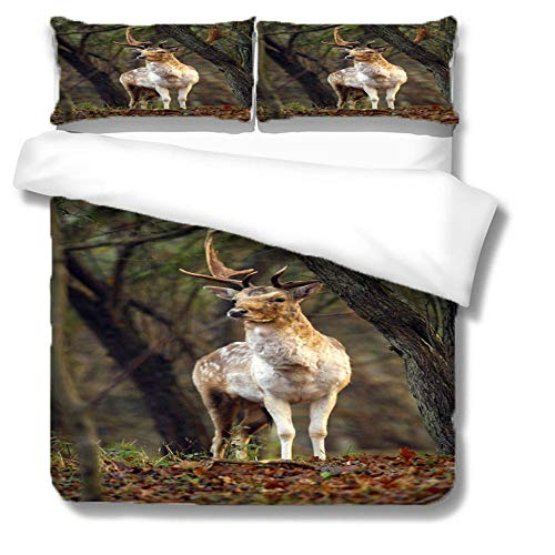 HLL 3D animal printing Bedding set 3 pieces Jungle sika deer with zipper closure suitable for children boys and teenagers