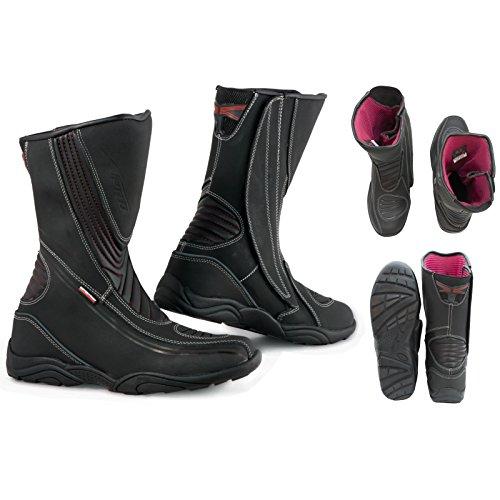A-Pro, Stivali da Moto per Città e Turismo, in Pelle Impermeabile, Misura 43