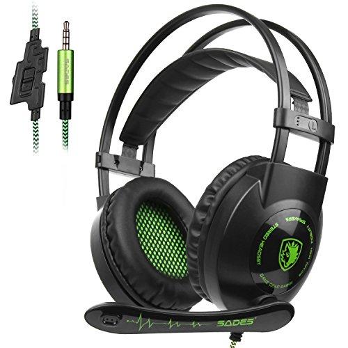 Sades Cuffia Gaming Con Suono Surround Microfono Deep Bass Controllo del Volume 3.5MM Stereo Per PC/Nuovo Xbox One/PS4/Smartphones (Over ear, Nero&Verde)