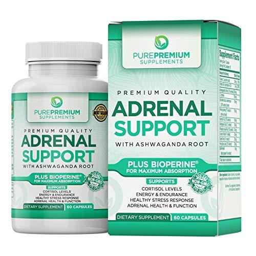 Premium Adrenal Support Supplement by PurePremium (Non-GMO & Gluten-Free) Maximum Strength Formula -...