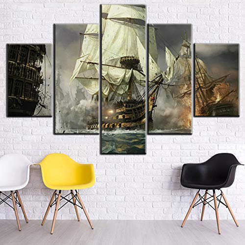 Boat Pictures for Living Room Battle Ship Painting Fantasy Sailboat Artwork Multi Piece Warship Canvas Wall Art HD Prints Home Modern Decoration Stretched Framed Giclee Ready to Hang Gift(60''Wx40''H)