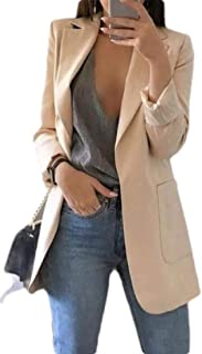 FSSE Women's Casual Open Front Solid Color Cardigan Work Office OL Blazer Jacket Suit Coat