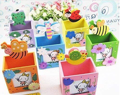 IKSHU Wooden Bee Shape Design Pen Stand with Photo Frame Birthday Return Gifts for Kids 6 Pcs Set