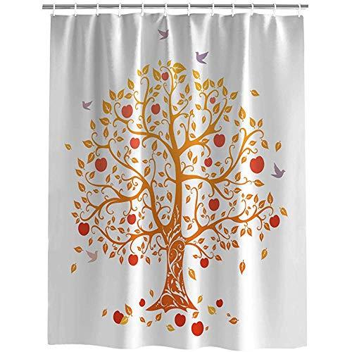abby-shop Apfel-Vogel-Fall-Baum-Dekor-Duschvorhang, wasserdichter Polyester-Gewebe-Bad-Vorhang