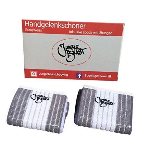Jungle Beast Handgelenkbandagen für Breakdancer und Sportler I 2er-Set Handgelenkschoner mit verstellbarer Größe I Inklusive E-Book mit Übungen I Bandage Handgelenk (Grau/Weiss)