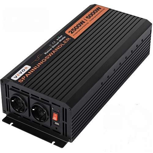 VEVOR 230V Spannungswandler Wechselrichter, 2500W Reiner Sinuswellen Wechselrichter, 24V DC Pure Sine Wave Power, Reiner Sinus Wechselrichter Spannungswandler