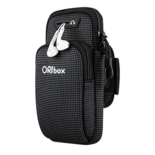 "ORIbox Running Armband with Double-layer large-capacity pocket for iPhone 12/11 Pro Max 12 mini XS Max XR X 8 7 6S Plus SE 2020, Galaxy up to 7"", Water Resistant Sports Phone Holder Case (Black)"