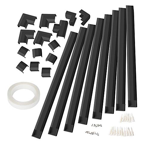 Cable Concealer, Large Size Cord Cover Raceway Kit, CMC-02 Wire Hider for Wall Mount TV, 125 inches Cable Hider Channel for Home Office, 8PCS, Each L15.7 X W1.18 X H0.6 inches,Black