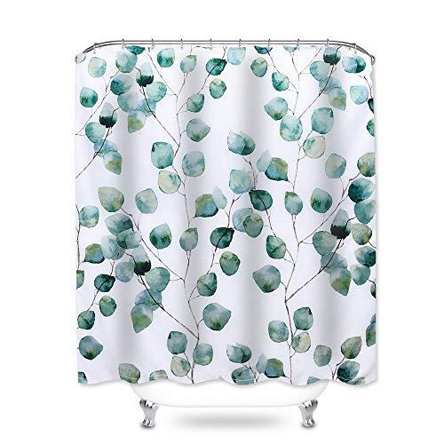Hoomall Duschvorhang 180x180cm Anti-schimmel Badezimmer Deko wasserdichte Waschbar Shower Curtain mit 12 Ringe 3D Grün Pflanzen (Weiss)