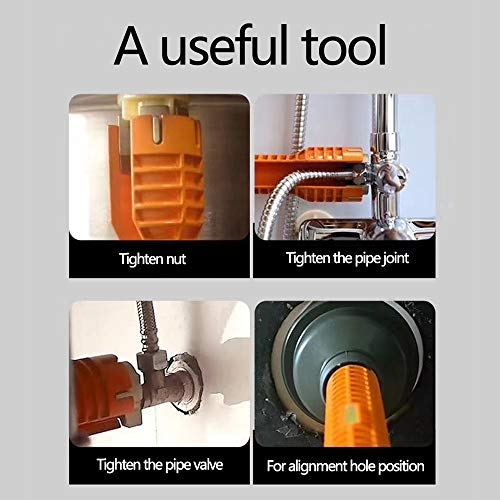 WREOW Faucet Wrench Sink Wrench Tool Faucet and Sink Installer Multifunctional Double Head Sink Installer Tool Water Pipe Spanner Tackle For Kitchen (orange)