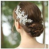 HONEY BEAR donna clip pettine per capelli,gioielli da sposa,accessori per capelli sposa,gioielli a forma di fiore con finte perle e strass (Foglia d'argento)
