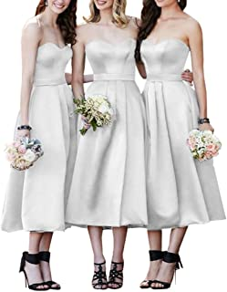 JONLYC A Line Sweetheart Satin Tea Length Homecoming Dress Bridesmaid Gowns