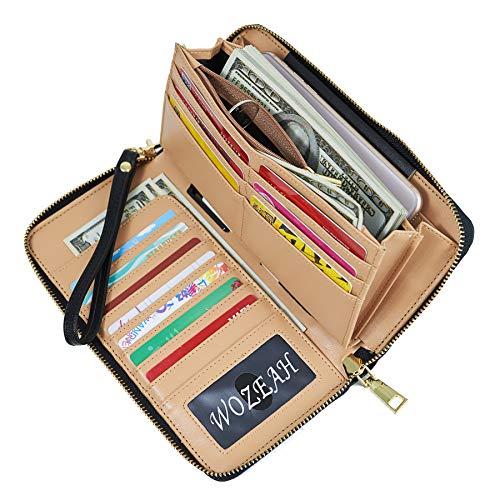 WOZEAH Women's RFID Blocking PU Leather Zip Around Wallet Clutch Large Travel Purse (black)
