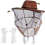 GOCTOS Beekeeping Cowboy Hat Beekeeper Hat and Beekeeping Gloves Beekeeping Protector Cap Beekeeper Net Cowboy Comfortable Design bee Hat