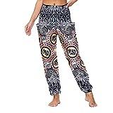 Pantalones sueltos de verano para mujer, ligeros, para el tiempo libre, estampados, bohemios, para la playa, holgados, hippie, transpirables, elásticos, bombachos, pantalones rectos, gris, M