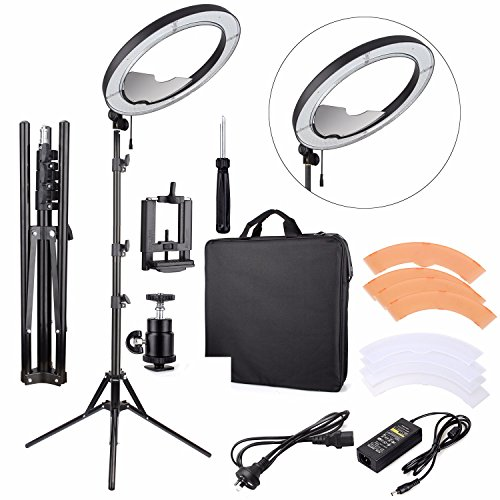 """EACHSHOT ES240 Kit, Including Light, Stand, Mirror, Bag, Bracket} 18"""" 5500K Dimmable LED Ring Light with 2 Color Diffuser for Makeup, Portrait Photography, Selfie, Camera Smartphone YouTube"""