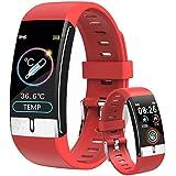 DigiKuber Temperatura Corporea Activity Tracker, Uomo Donna IP68 Impermeabile Smartwatch Orologio Contapassi Braccialetto Contapassi Fitness Tracker Cardiofrequenzimetro da Polso (Rosso)