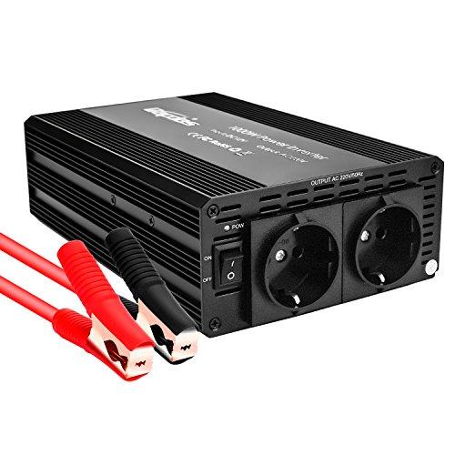Bapdas 1000W Kfz-Wechselrichter/Spannungswandler DC 12 V auf AC 220-230 V mit 2 AC Buchse und 80cm Kable