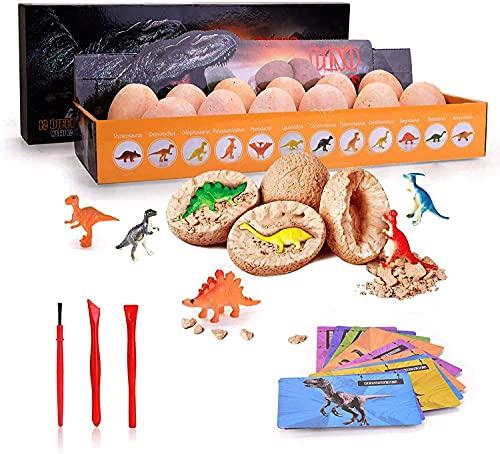 Jokooan Huevos de Dinosaurio Juego de 12,Descubre 12 Dinosaurios Diferentes,Huevos de Pascua,Arqueología,Paleontología,Juguete,kit de Excavación de Huevos de Dinosaurio,Juguetes Para Niños de 4 + años