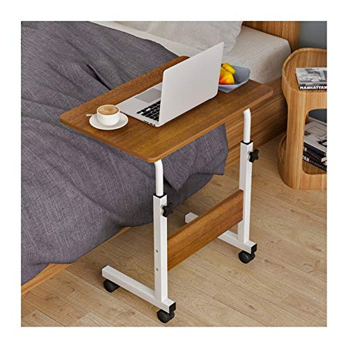 WERTYU Mobile Lap Table, Days Overbed Table, Mobile Computer Stand Desk Portable Side Table for Bed Sofa Overbed Table with Castor (Color : Oak Color A, Size : 80X50cm)