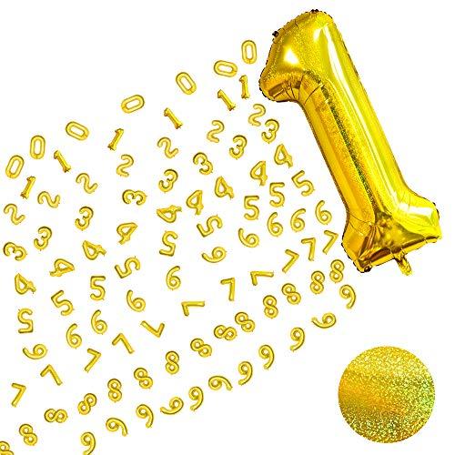 MMTX Geant Ballon Chiffre 0 1 2 3 4 5 6 7 8 9 Or, XXL Laser Ballons Numérotés, Happy Birthday Decoration Ballon Age Gonflable Joyeux Anniversaire Garçon Fille, Vole Grâce à lHèlium