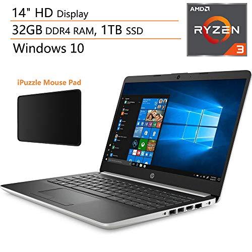 "HP 14 14"" Micro-Edge Laptop Computer, AMD Ryzen 3 3200U up to 3.5GHz (Beats i5-7200U), 32GB DDR4 RAM, 1TB SSD, 802.11AC WiFi, Bluetooth 4.2, Windows 10, iPuzzle Mouse Pad"