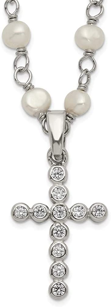 Chain Necklace White Sterling High order Ranking TOP16 Silver Cle Pearl Cubic Zirconia CZ