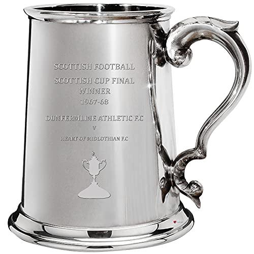 I LUV LTD 1 Pint Tankard for DUNFERMLINE ATHLETIC FC 1967-68 Scottish Cup Final Winner Pewter Beer Mug Football Fan Trophies Memorabilia Mens Birthday Personalised Gifts